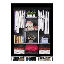Multi-Function Fabric Canvas Wardrobe Cupboard Shelves Cabinet ,Black Color,UK