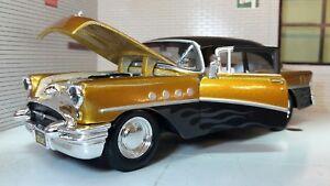 Buick Century 1955 Custom Hot Rod Black & Gold Car 1:26 1:24 Scale Diecast Model