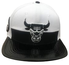 Pro Standard Men s NBA Chicago Bulls Leather Buckle Back Hat White BLK W   Pin 74c6085a1bc4a