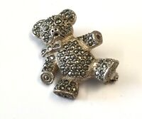 Vintage Silver & Marcasite Teddy Bear Brooch Pin - GIFT BOXED
