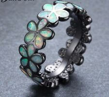 Unique Style Black Gold Filled Retro Flower Design Fire Opal Ring Size N/7