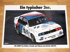 BMW M3 E30 POSTER 8 - TYPISCHER DREIER / GRUPPE A - ORIGINAL VINTAGE in MINT RAR