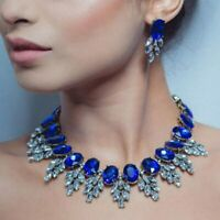 Luxury Choker Crystal Rhinestone Necklace Set Statement Wedding Party Jewelry
