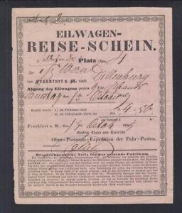 Eilwagen Reise-Schein 1849 Frankfurt am Main nach Dillenburg