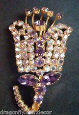 Signed Vintage Brooch S2 - Austrian Crystal Purple Aurora Borealis Tulip Flower