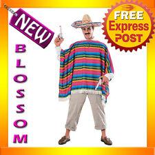 Mens Mexican Serape Poncho & Sombrero Spanish Hat Halloween Adult Costume C241