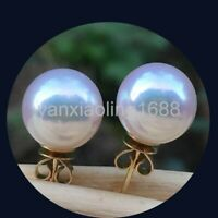 10mm Genuine White South Sea Shell Pearl 14k Gold Plated Stud Earrings AAA Round