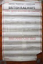 1953 BTC General Notices Regulations Original Station Railway Poster
