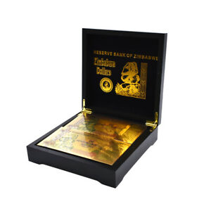 One Quadringentillion Dollar Gold Banknote Zimbabwe Note 100pcs with Box