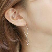 Damen Ohrringe Durchzieher Wellen echt Sterling Silber 925 Ohrhänger