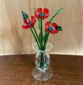 Glass Flowers - Poppies - Suffolk Studio Glass UK Handmade Model - New