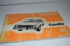 Vintage 1978 Toyota Corolla Operator's Manual