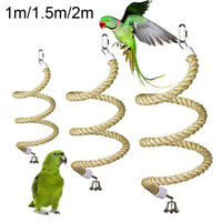 SN_ PET BIRD PARROT, BELL STAND PERCH COTTON ROPE CHEWING CAGE HANGING SWING T