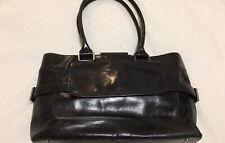 Oroton Black Patent Leather Structured Shoulder Handbag with silver hardware det