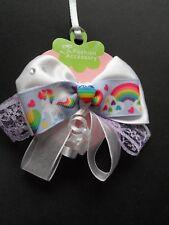 """girls 4"""" large hair bow, hair bow clip, slide, unicorn rainbow princess sparkle"""