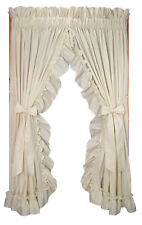Stephanie Solid Color Country Ruffled Priscilla Window Curtains with Bow TieBack