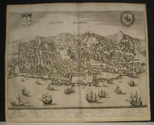 LISBON (LISBOA9 PORTUGAL 1646 MERIAN UNUSUAL ANTIQUE COPPER ENGRAVED CITY PLAN
