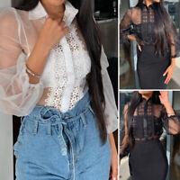 Sexy Femme Ample Transparent Manche bouffante Couture de dentelle Shirt Tops