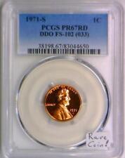 1971-S Proof Lincoln Cent PCGS PR-67 RD; DDO FS-102; Rare Coin!