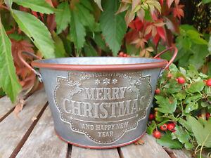 Zink Topf Merry Christmas Landhaus Shabby Chic Vintage 17 x 10 cm