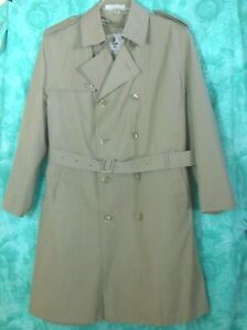 Misty Harbor Trench Coat 42R Khaki Double Breasted Removeable Faux Fur Liner VGU