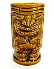 "BROWN DOUBLE SIDED TIKI DRINK CUP MUG 5"" TALL X 2.75"" WIDE HAWAIIAN TRIBAL"