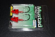 2 Pack Mustad SD824-1RED Elite Shad Darter Jig Heads 1 oz 5/0 Hook Red UV