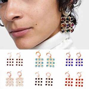 Diamante Gold Earrings Rhinestone Pearls Crystal Square Stud Boho Style Jewelry