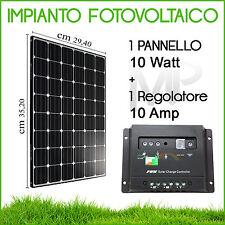 KIT PANNELLO FOTOVOLTAICO 10W + REGOLATORE 10A Amp CASA CAMPER GIARDINO BARCA