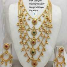 22k Matt Gold Plated Bollywood Fashion Long Rani Haar Necklace Earring Set