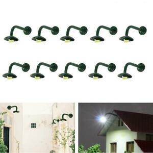 10pcs Model Railway 1:87 Hanging Lamp Outdoor Wall Goose Neck Light HO Scale LED
