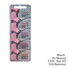 Maxell 337 SR416SW  V337 SR416 1.55V Silver Oxide Watch Batteries (100 Cells)