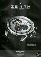 PUBLICITÉ PAPIER 2012 MONTRES ZENITH EL PRIMERO CHRONOMASTER 1969 PRINTEMPS