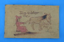 Antique 1905 Leather Postcard What They Did To Me In Findlay Woman Mule Posted