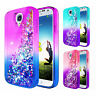 For Samsung Galaxy S4 Case | Liquid Glitter Bling Soft TPU Cover +Tempered Glass