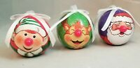 "Reindeer Elf Santa Ball Ornament Set 3 Blinking Light Up 2"" Decoupage Christmas"