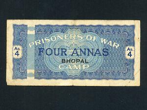 India:P-C5101,4 Annas * WWII * POW * BHOPAL * RARE * VF *