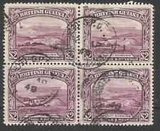 BRITISH GUIANA SG318 THE 1945 GVI $2 PURPLE  A FINE POSTALLY USED BL OF 4 C£108+