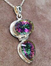 Vintage Sterling Silver 925 Hinged Oval Pear Drop Mystic Quartz Pendant Necklace