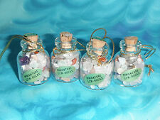 Set of Four ~ Cute! Small Miniature Gem-Rocks in Bottles ~ Christmas Ornaments