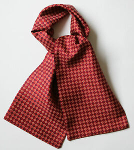 "Crimson red, cream & blue dot hand printed silk cravat 39"" X 6"""
