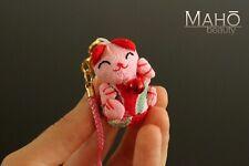 Chirimen Maneki Neko lucky CAT cute Japanese kimono crepe mascot keychain charm