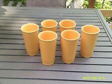 Vintage Lot of 6 Tupperware #873 Harvest Gold Glasses 12 oz Tumblers
