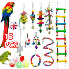 More details for 15x parrot toys metal rope small ladder stand budgie cockatiel cage bird toy set