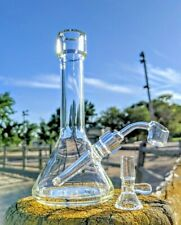 "8"" Thick Premium Glass Rig Combo w/ Fixed Stem Tobacco Smoking Water Pipe Bong"