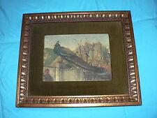 Antique Vintage Print Silk Art Plate Adoration Magi Signed London Tablet Gallery