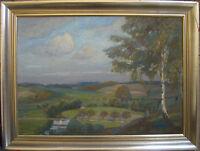 ::RUDOLF POESCHMANN *1878 ÖLGEMÄLDE LANDSCHAFT ANTIK °SIGNIERT ART DECO / S1R2