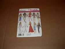 """Simplicity 4702 11 1/2"""" Doll Clothes Pattern Barbie Size 10 Outfits Uncut 2004"""