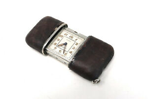 A Vintage Art Deco Movado Ermeto Purse Manual Travel Watch Leather Case #29831