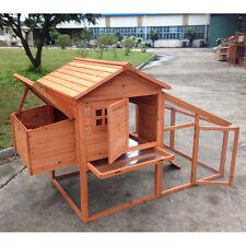 "74"" Deluxe Wood Chicken Coop Backyard Hen House 3-6 Chickens w nesting box Run"